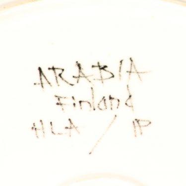 Arabia Aurinkoruusu tarjoiluvati, käsinmaalattu, suunnittelija Hilkka-Liisa Ahola, käsinmaalattu, käsinmaalattu, matala, signeerattu kuva 3