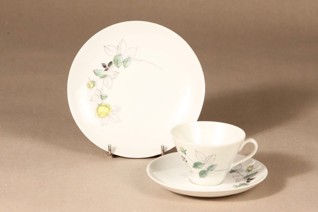 Arabia Julia coffee cup, saucer and plate, hand-painted, Hilkka-Liisa Ahola
