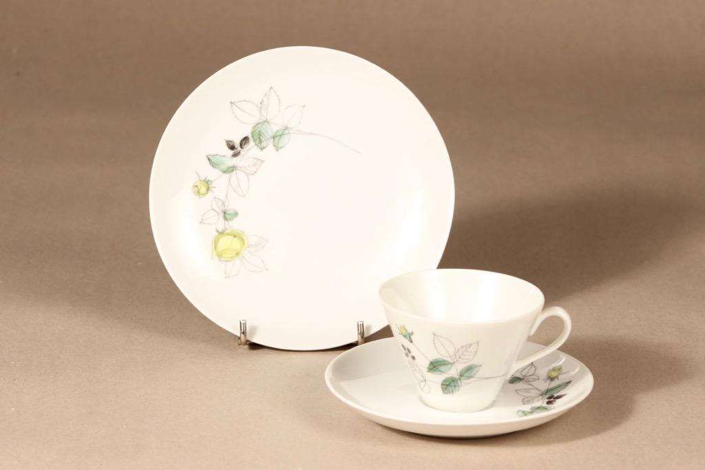 Arabia Julia coffee cup, saucer and plate, hand-painted, Hilkka-Liisa Ahola