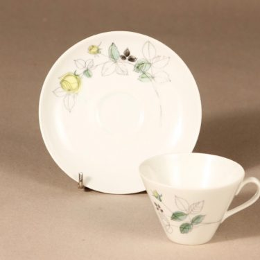 Arabia Julia coffee cup, saucer and plate, hand-painted, Hilkka-Liisa Ahola, 2
