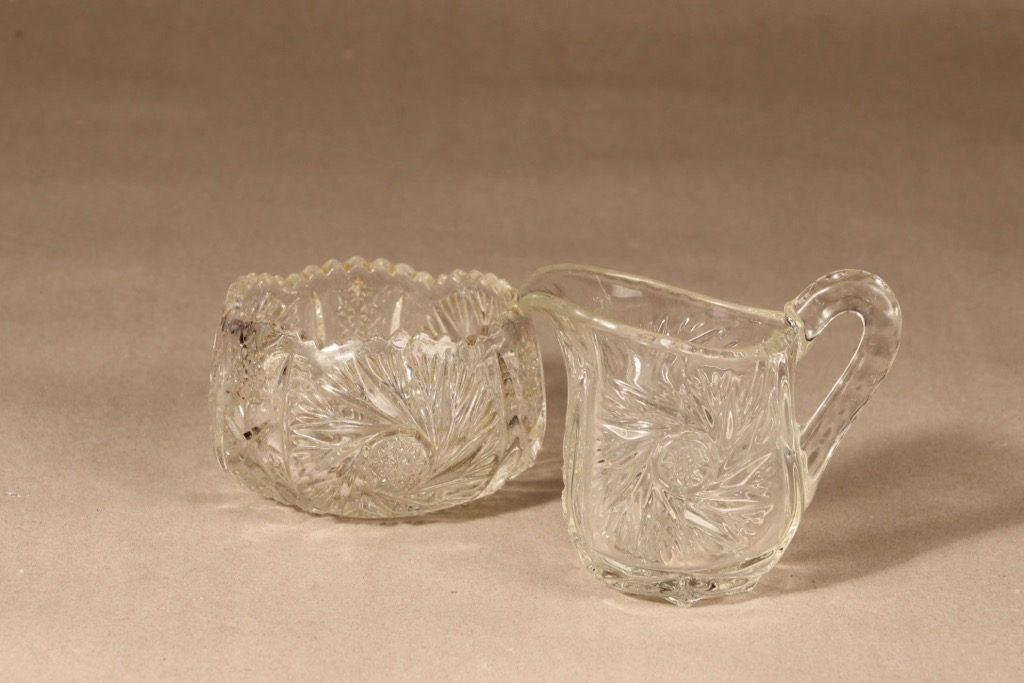 Riihimäen lasi sokerikko ja kermakko, kirkas, 2 kpl, suunnittelija ,