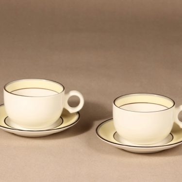 Arabia Veranda kahvikupit, 2 kpl, 2 kpl, suunnittelija Inkeri Leivo, 2 kpl, raitakoriste