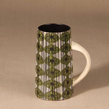 Kupittaan savi tuoppi, käsinmaalattu, suunnittelija Solveig Björkman, käsinmaalattu, retro