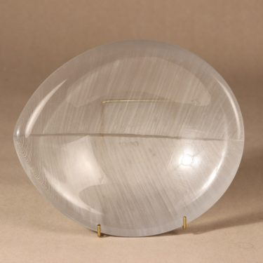 Iittala Lehti art glass, signed, designer Tapio Wirkkala, massive, hand-polished, 4