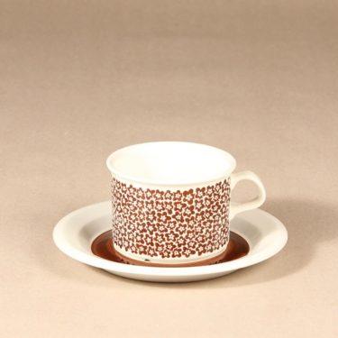 Arabia Faenza tea cup, brown flower, designer Inkeri Seppälä, silk screening, flower theme