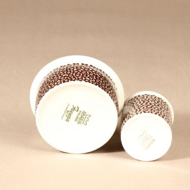 Arabia Faenza sugar bowl and creamer, brown flower, 2 pcs, designer Inkeri Seppälä, silk screening, flower theme, 2