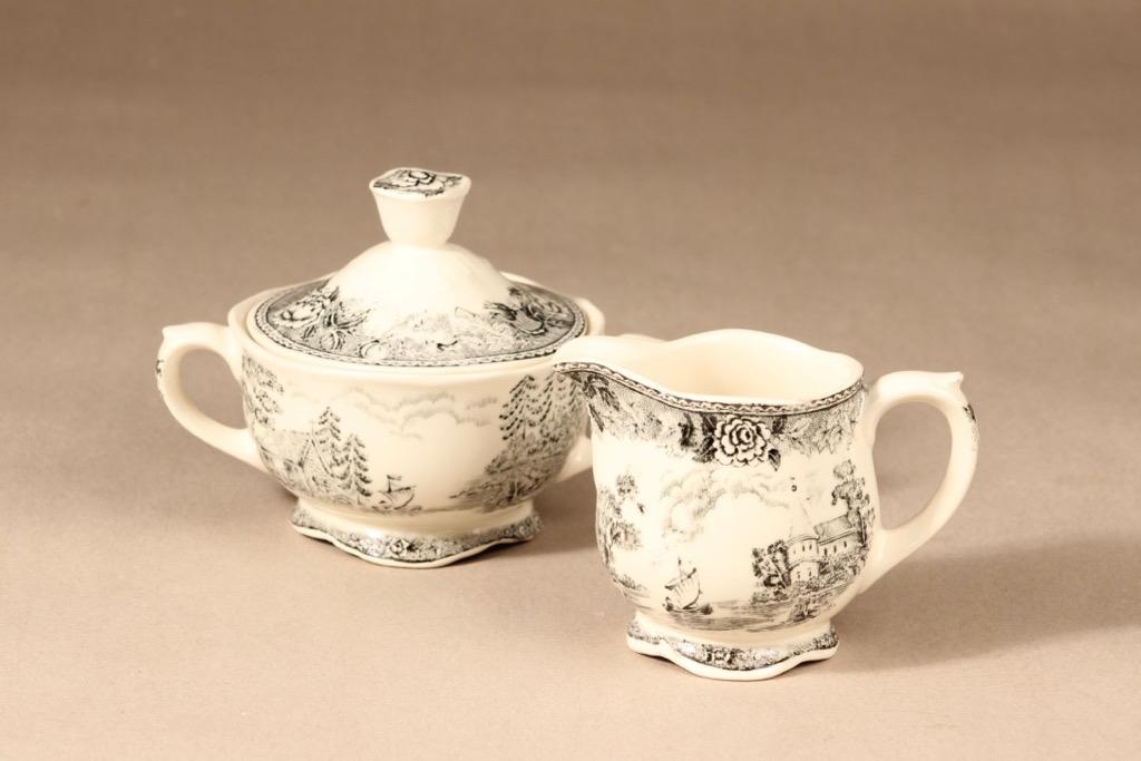 Arabia Maisema sugar bowl and creamer, gray, copper ornament