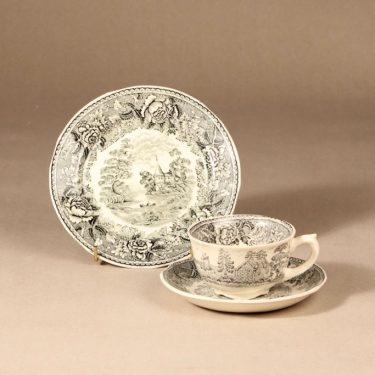 Arabia Maisema coffee cup, saucer and plate, gray,