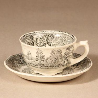 Arabia Maisema kahvikuppi ja lautaset, harmaa, suunnittelija , Kuppi 5,8 * 9,5 cm, asetti 14,5 cm, pullalautanen 17,5 cm kuva 2