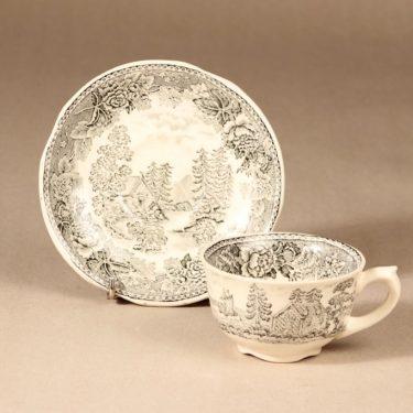 Arabia Maisema kahvikuppi ja lautaset, harmaa, suunnittelija , Kuppi 5,8 * 9,5 cm, asetti 14,5 cm, pullalautanen 17,5 cm kuva 3