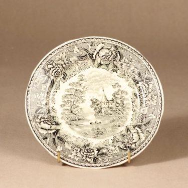 Arabia Maisema kahvikuppi ja lautaset, harmaa, suunnittelija , Kuppi 5,8 * 9,5 cm, asetti 14,5 cm, pullalautanen 17,5 cm kuva 4