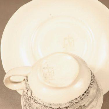 Arabia Maisema kahvikuppi ja lautaset, harmaa, suunnittelija , Kuppi 5,8 * 9,5 cm, asetti 14,5 cm, pullalautanen 17,5 cm kuva 5
