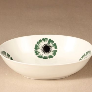 Arabia Asteri serving bowl, black, green, flower theme, silk screening