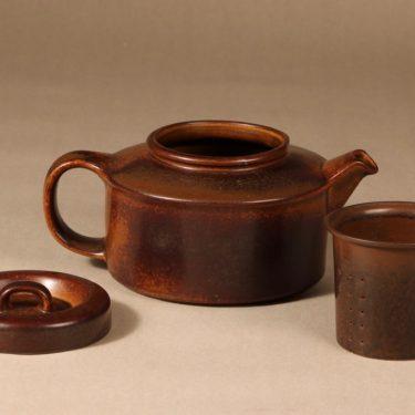 Arabia Ruska teekaadin, 1.35 l,   kpl, suunnittelija Ulla Procope, 1.35 l, ruskea lasite kuva 2