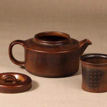 Arabia Ruska teekaadin, 1.35 l, suunnittelija Ulla Procope, 1.35 l, ruskea lasite kuva 2