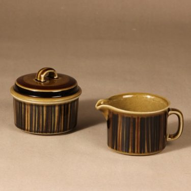 Arabia Kosmos sugar bowl and creamer, blown decoration, Gunvor Olin-Grönqvist