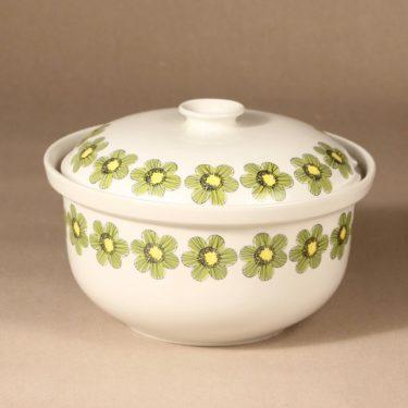 Arabia Primavera terriini, vihreä, suunnittelija Esteri Tomula, serikuva/kukka-aihe, retro