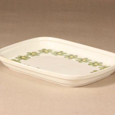 Arabia Primavera tarjoilukulho, vihreä, suunnittelija Esteri Tomula, serikuva/kukka-aihe, retro