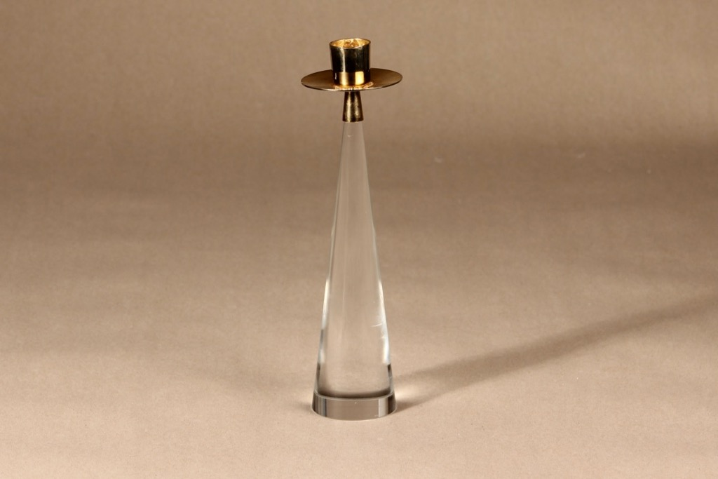 Iittala Ascot candlestick, clear, gold, Timo Sarpaneva, gilted