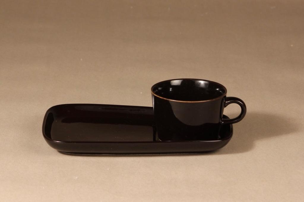 Arabia Kilta coffee cup and special plate, black, Kaj Franck,