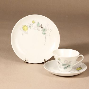 Arabia Julia coffee cup, saucer and plate, hand-painted