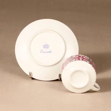 Arabia Esmeralda kahvikuppi ja lautaset, pinkki, suunnittelija Esteri Tomula, serikuva, retro kuva 4