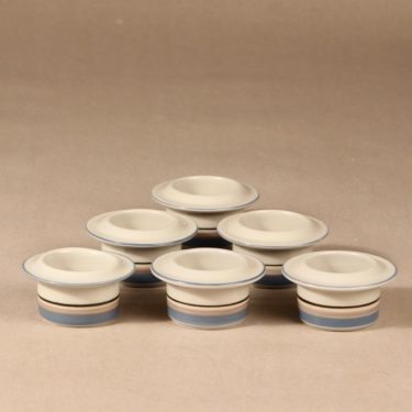 Arabia Uhtua egg cup, 6 pcs, designer Inkeri Leivo, stripe decoration