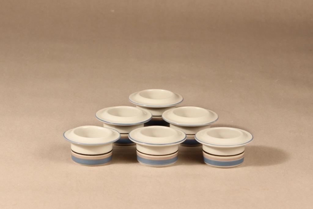 Arabia Uhtua egg cup, 6 pcs, designer Inkeri Leivo, stripe decoration