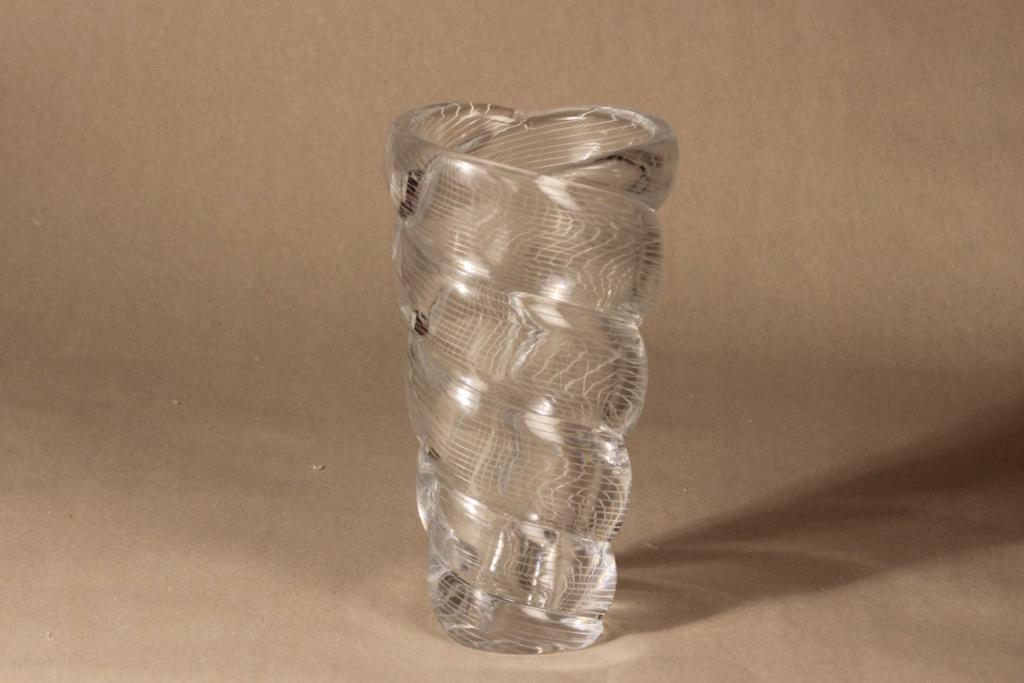 Riihimäen lasi Barokki art glass vase, hand-polished, designer Gunnel Nyman, massive, signed