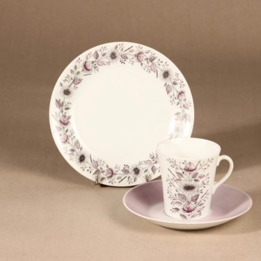 Arabia Tea coffee cup, saucer and plate, hand-painted, Esteri Tomula