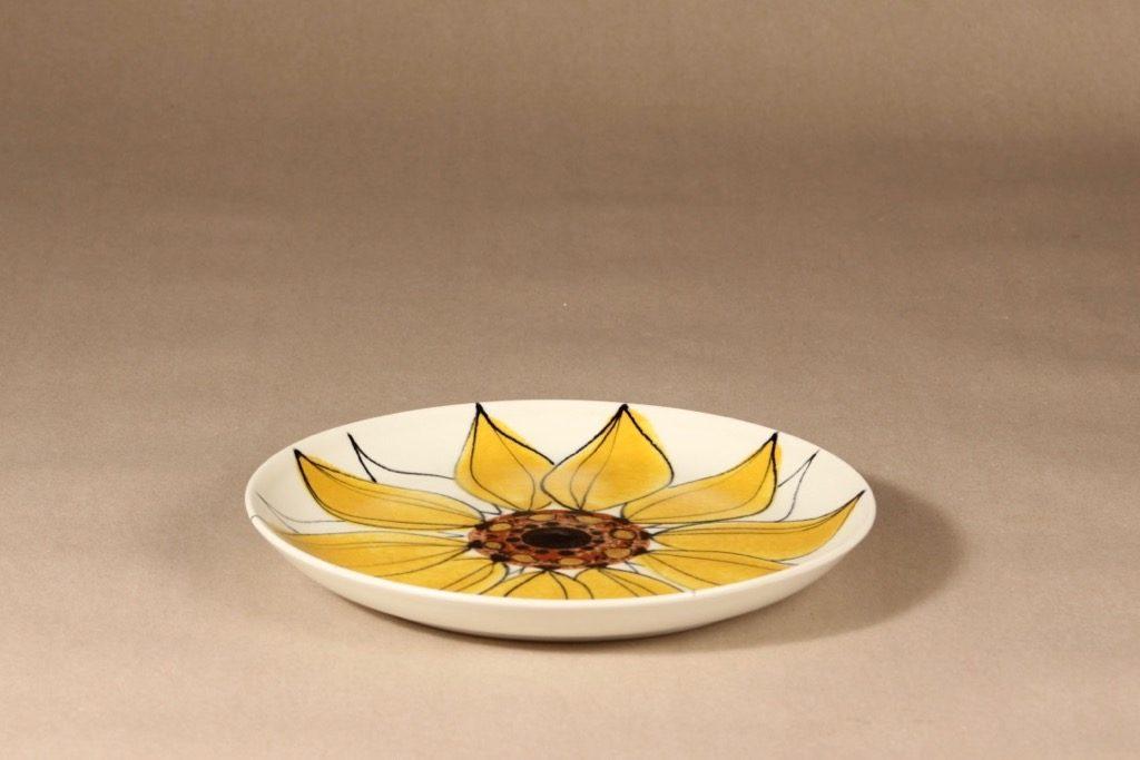 Arabia Aurinkoruusu lautanen, käsinmaalattu, suunnittelija Hilkka-Liisa Ahola, käsinmaalattu, käsinmaalattu, matala, signeerattu