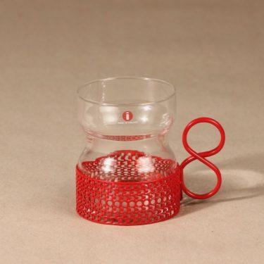 Iittala Tsaikka teelasi, punainen pidike, suunnittelija Timo Sarpaneva, punainen pidike, serikuva, 2003, jänis