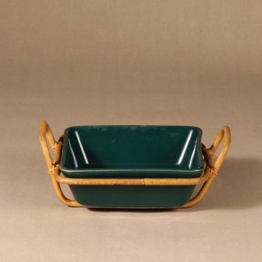 Arabia Kilta bowl with rattan basket, green, designer Kaj Franck