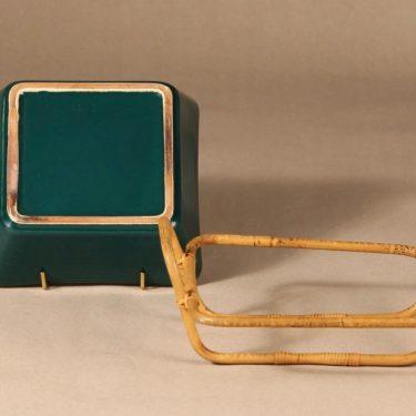 Arabia Kilta kulho rottinkikorilla, vihreä, suunnittelija Kaj Franck, rottinkikori kuva 2