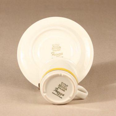 Arabia Faenza raita kahvikuppi ja lautaset, suunnittelija Peter Winquist, raitakoriste kuva 4