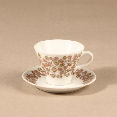 Arabia Marjatta kahvikuppi ja lautaset, 3 osaa, suunnittelija Raija Uosikkinen, 3 osaa, serikuva kuva 2