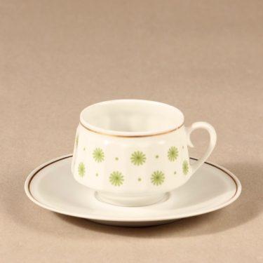 Arabia Roksana kahvikuppi, vihreä, suunnittelija Richard Lindh, serikuva