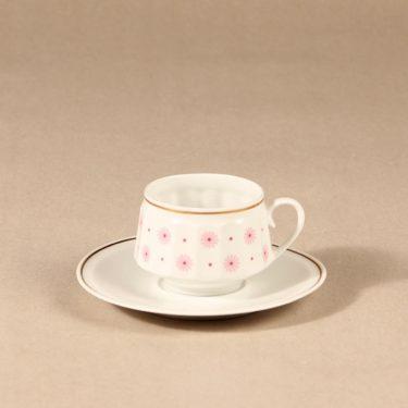 Arabia Roksana kahvikuppi, vaaleanpunainen, suunnittelija Richard Lindh, serikuva