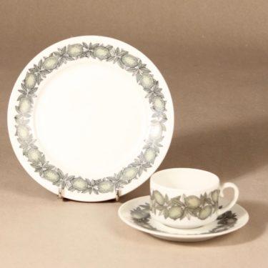 Arabia Citrus kahvikuppi ja lautaset, vihreä, suunnittelija Richard Lindh, serikuva