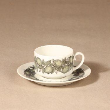 Arabia Citrus kahvikuppi ja lautaset, vihreä, suunnittelija Richard Lindh, serikuva kuva 2
