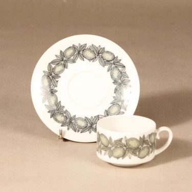 Arabia Citrus kahvikuppi ja lautaset, vihreä, suunnittelija Richard Lindh, serikuva kuva 3