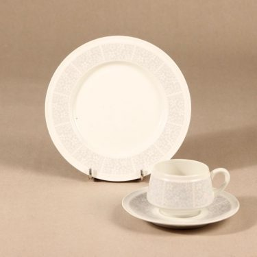 Arabia Pitsi coffee cup, saucer and plate, 3 part, Raija Uosikkinen