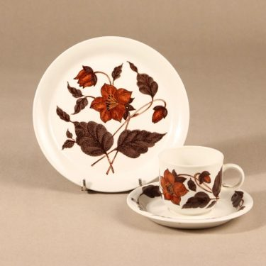 Arabia Cafe coffee cup, saucer and plate, 3 parts, Gunvor Olin-Grönqvist
