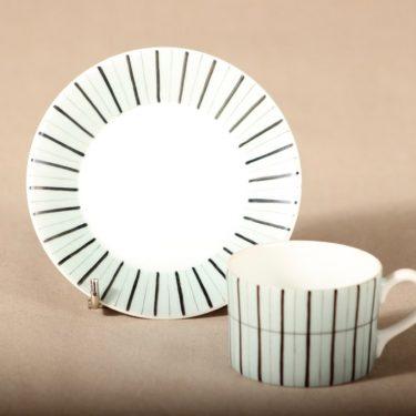 Arabia TM mokkakuppi, käsinmaalattu, suunnittelija Esteri Tomula, käsinmaalattu, käsinmaalattu, raitakoriste kuva 2