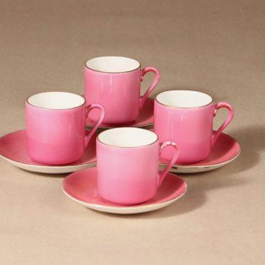 Arabia mokkakuppi, vaaleanpunainen, 4 kpl, suunnittelija ,