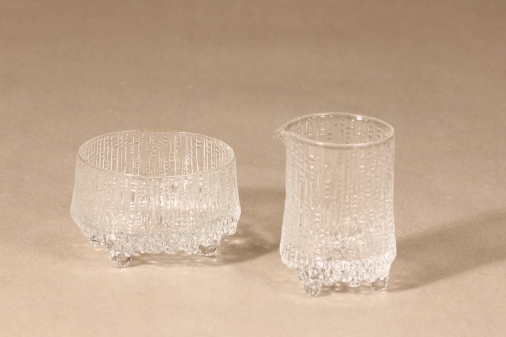 Iittala Ultima Thule sugar bowl and creamer, clear, design Tapio Wirkkala,