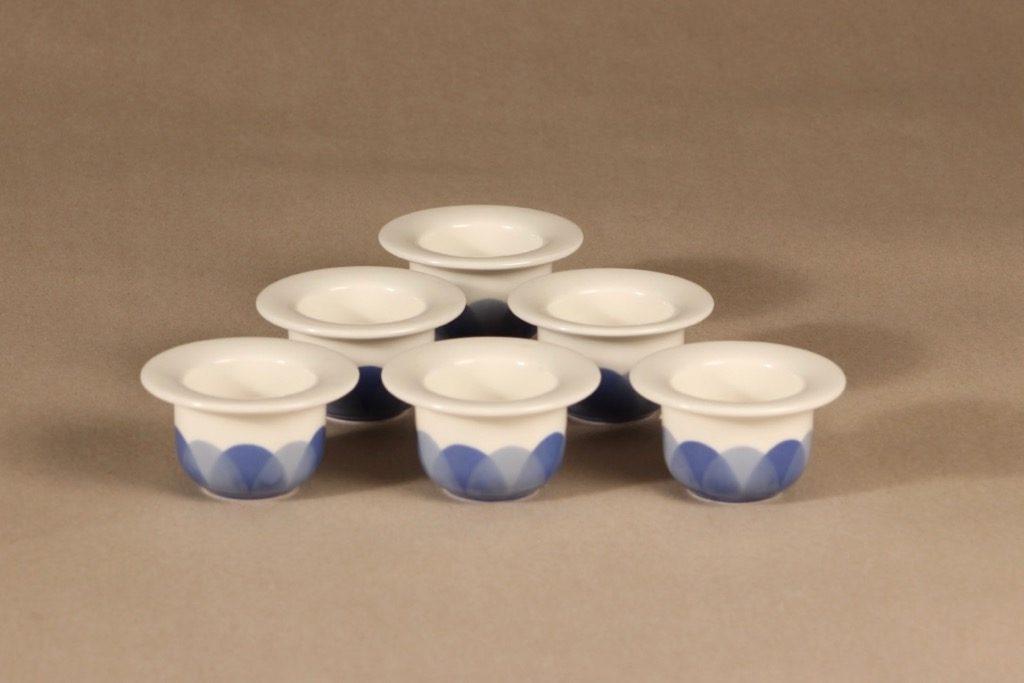 Arabia Pudas Arctica munakuppi, sininen, 6 kpl, suunnittelija Inkeri Leivo, serikuva