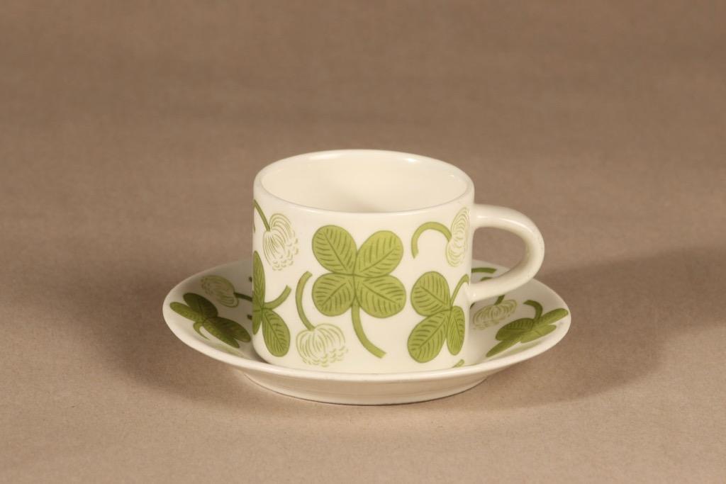 Arabia Apila kahvikuppi, vihreä, suunnittelija Birger Kaipiainen, serikuva