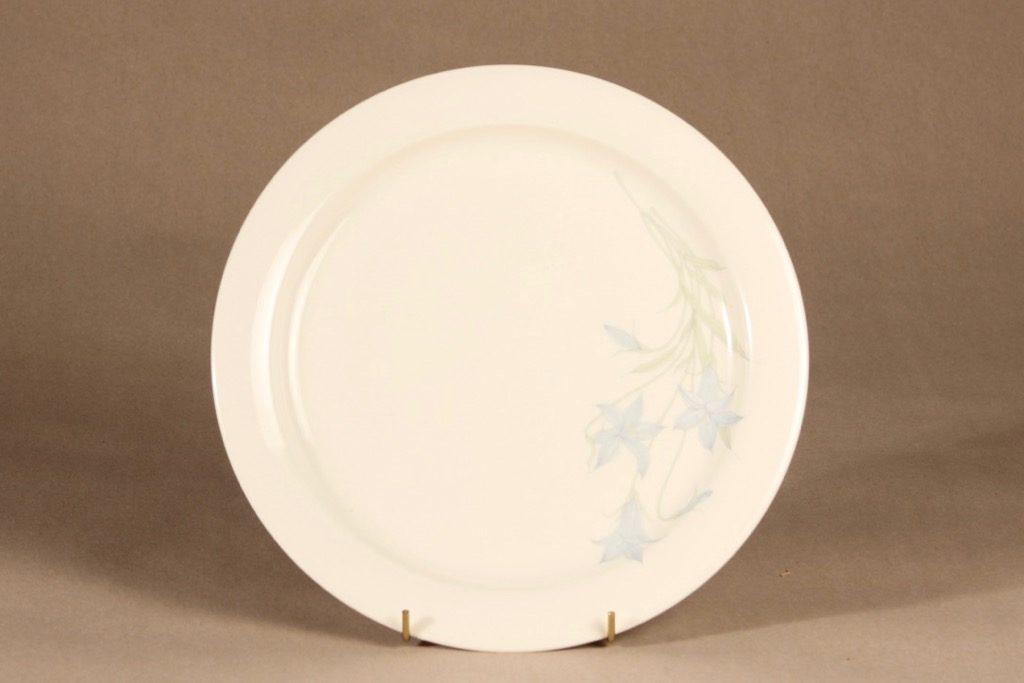 Arabia Sinikello lautanen, matala, suunnittelija Esteri Tomula, matala, serikuva, kukka-aihe