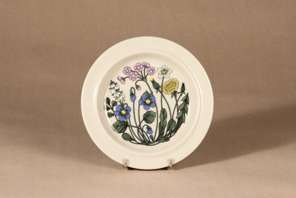 Arabia Flora lautanen, suunnittelija Esteri Tomula, kukka-aihe, serikuva, pieni